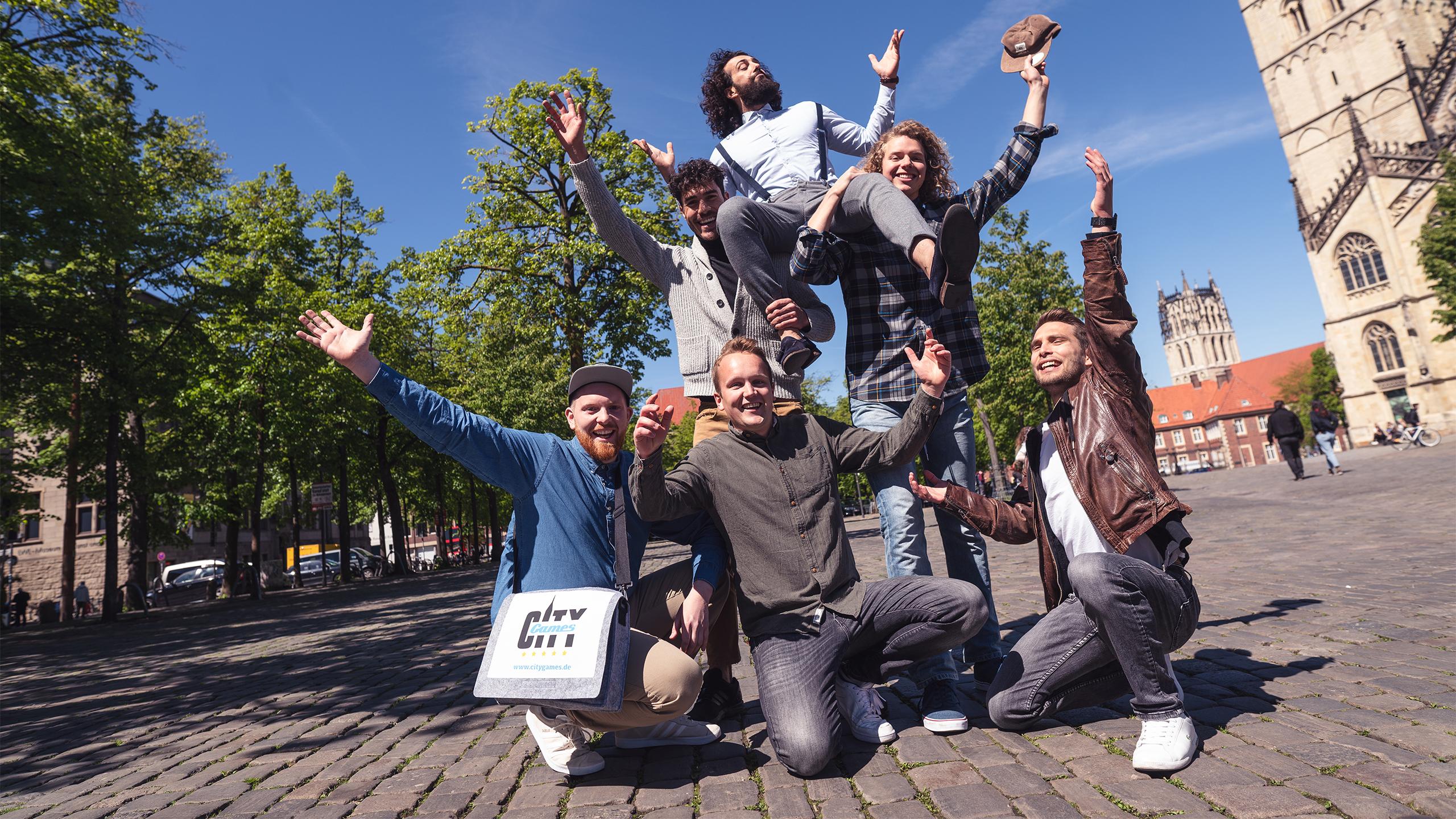 CityGames JGA Männer Tour: Junggesellenabschied-Gruppenfoto